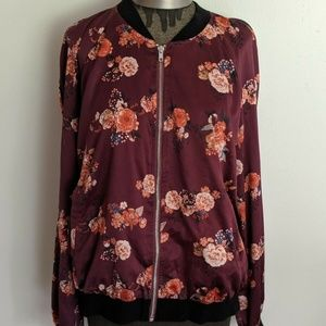 GUESS Maroon Floral Bomber Jacket Size XL
